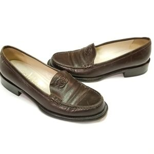 Chanel Brown Leather Penny Loafer